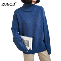 RUGOD 2018 New Winter Sweater Women Solid Warm Long Sleeve Turtleneck Sweaters And Pullovers Women Knitted