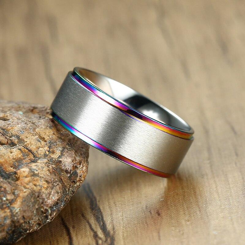 Men's Rainbow Stainless Steel Ring