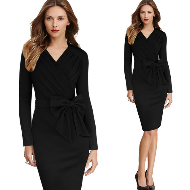 2016 Fall Brand New V Neck Full Sleeve Bodycon Pinup Dress Plus Size