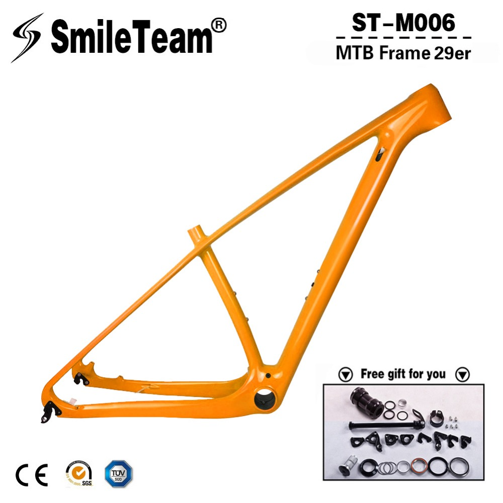 super light 29er 27 5er fat tire mountain bike new carbon frame through axle mtb frame SmileTeam Ultralight T1000 Carbon Orange Mtb Frame 29er Carbon Mountain Bike Frame 142*12 Thru Axle or 135*9mm QR Bicycle Frame