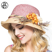 FS Raffia Straw Hats For Women Summer Wide Brim Sun Hat Elegant Flower Visor Cap Casual Beach Travel Caps Girls Sunhats Sombrero