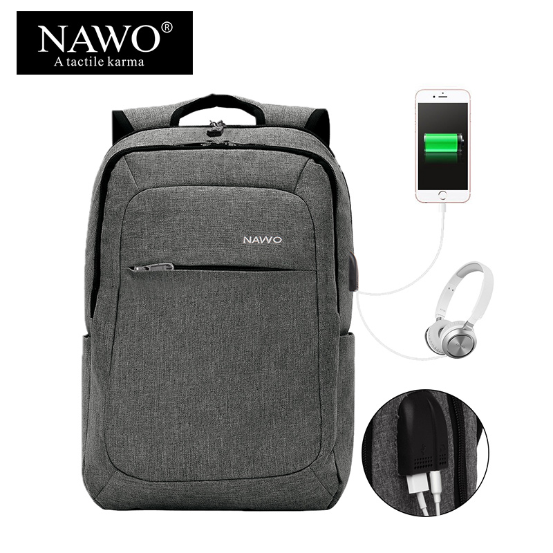 NAWO Anti-thief USB charging Apply to15.6inch laptop backpack for women Men Backpack sch ...