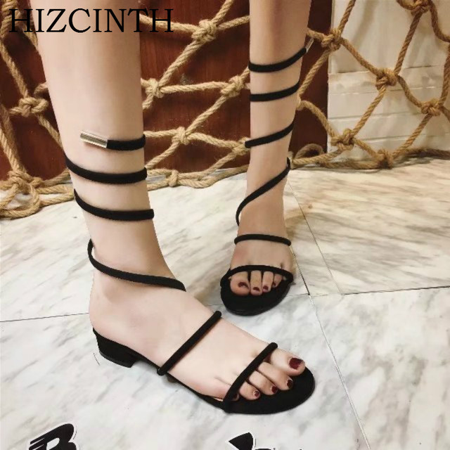 HIZCINTH Roman Cool Sandals Boots Female Open-toed Flats Sandals 2018 Summer Fashion Women's Shoes  Sandalia Gladiador Sandal