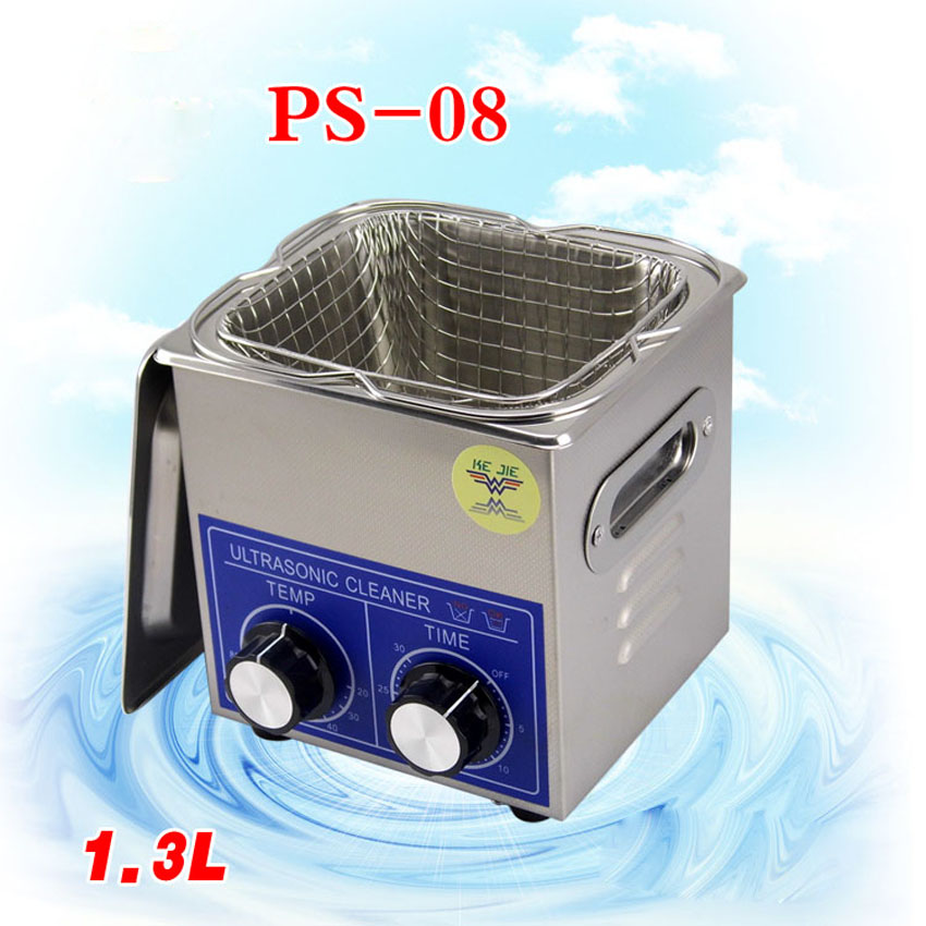 1PC PS-08 60W Small Ultrasonic Cleaner Heater&timer 1.3L 40KHZ for Household Glasses Jewelry With Basket 15l stainless steel digital ultrasonic cleaner with timer and heater including washing basket
