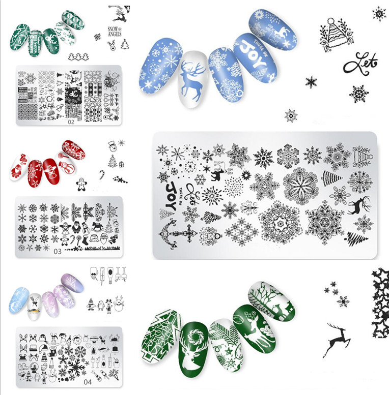 1pc Christmas Nail Art Stamping Kit Plate 6*12cm Manicure Holiday Collection Reindeer Santa Snowflake Template