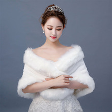 Real Photos Ivory Faux Fur Shrug Cape Winter Wrap Wedding Ja