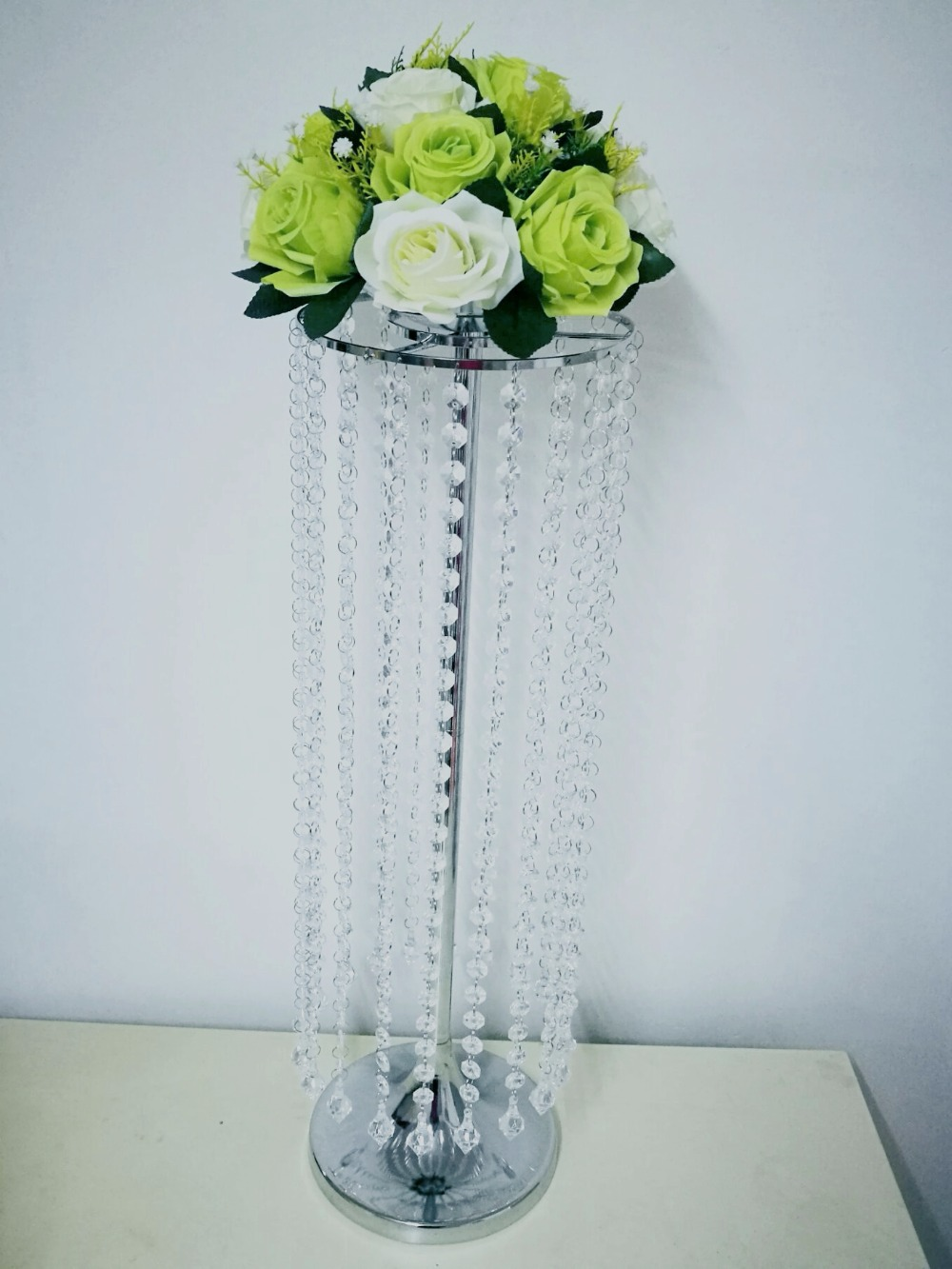 Tall 70cm Iron Stand Flower Vase Crystal Wedding table centerpieces Flower Candle Holder party event favors T stage Road Lead