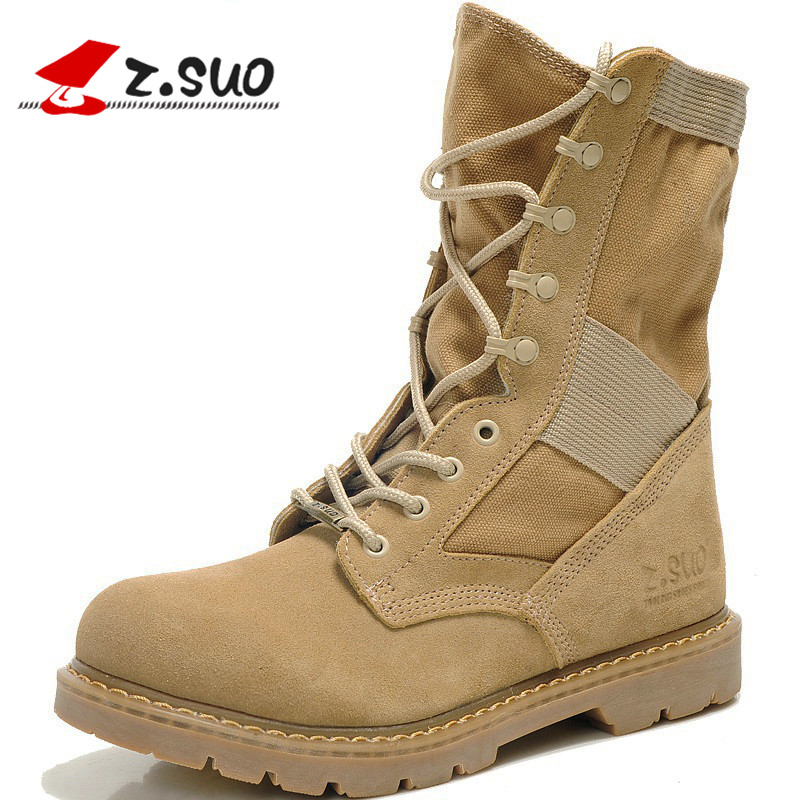 Z.Suo 2017 Fashion Mens Military Boots Army War Tactical Combat Mid Calf Canvas Suede Botas Handmade Tooling Work Desert Boots