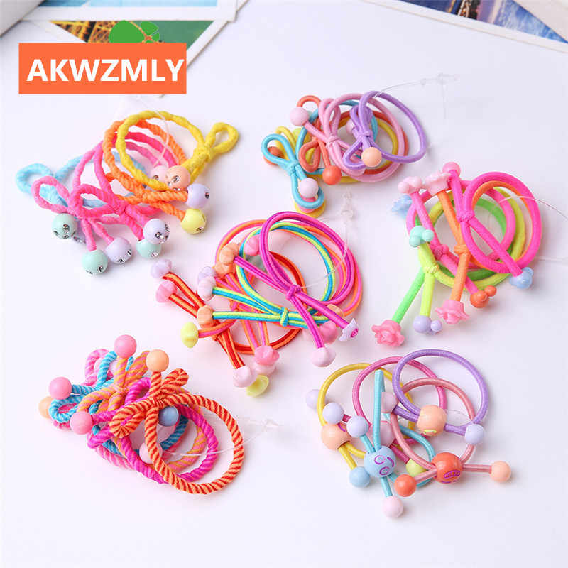 10Pcs New Arrival Flower Headwear Candy Color High Elastic Hair Bands Beads Star Smile Rubber Tie Resin Girls Hair Accessories