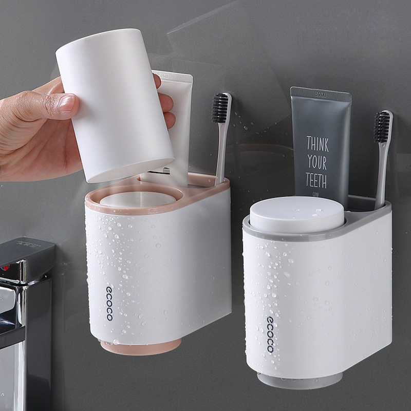 Toothbrush Toothpaste Holders With 2 Cup Bathroom Accessories Sets Magnetic Attraction Toothbrush Holder Shaver Shelf Storage