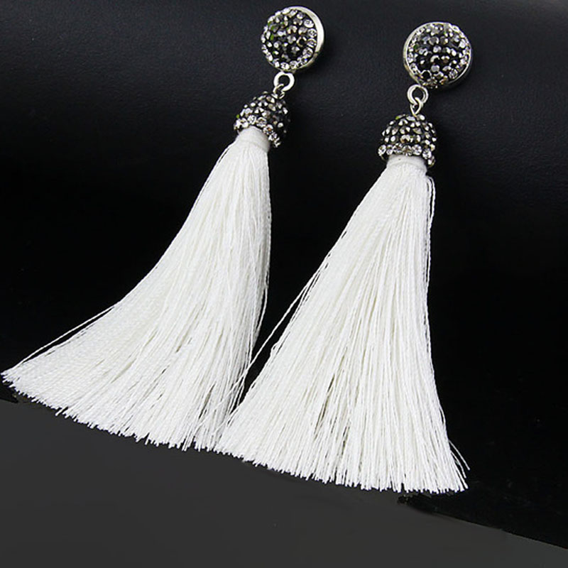 Bohemia Crystal Silk Tassel Earrings Handmade High Quality Gray Burgundy Long Drop Dangle Earrings Women Trendy Jewelery