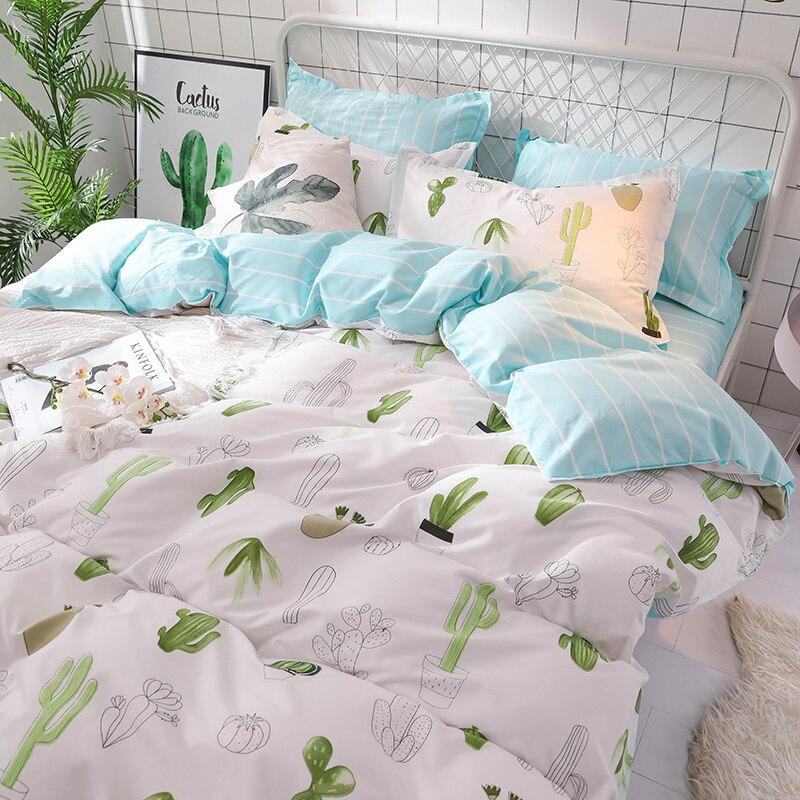 Купить с кэшбэком Green Cactus Pastoral Bed Linen Set White Bedding Set Bed Bedclothes Duvet Cover Set For King Queen Blue Strip Bed sheet bed set
