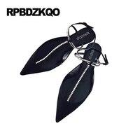 Süet Slingback 9 Bling Siyah Kadınlar Sivri Burun Büyük Boy Yaz Flats Rhinestone Sandalet Ayak Bileği Kayışı Bayanlar Güzel Ayakkabı