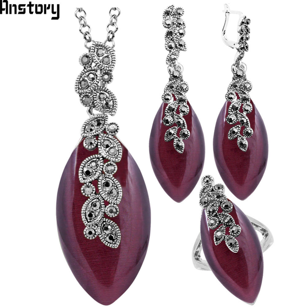 Leaf Pendant Dark Purple Opal Jewelry Set Necklace Earrings Rings For Women Antique Silver Plated Rhinestone Fashion Gift TS361