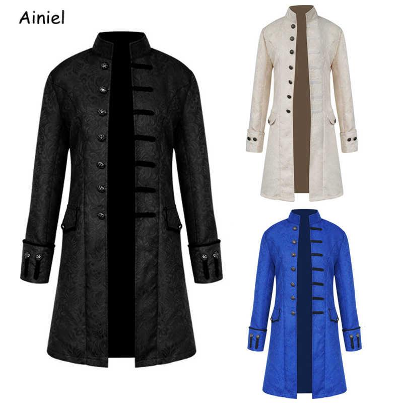 Бесплатная доставка по всему миру однотонное пальто в европейском и американском стиле Мужское пальто черный синий белый модный стимпанк Ретро Униформа воротник