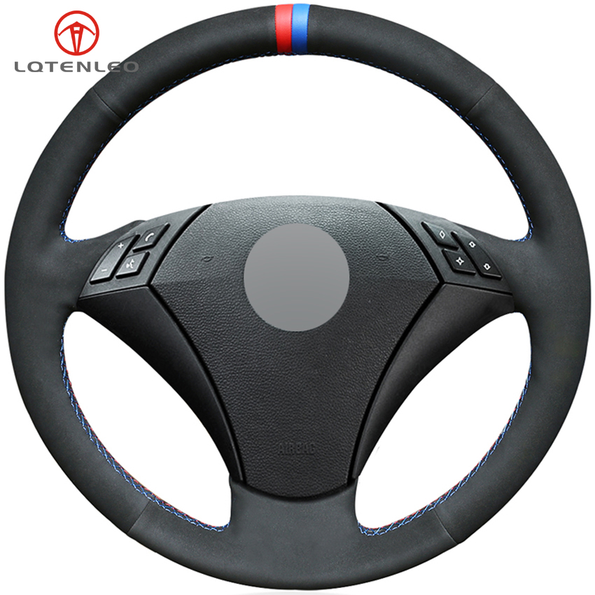 LQTENLEO Black Suede Red Blue Marker Car Steering Wheel Cover for BMW E60 E61 520i 520li