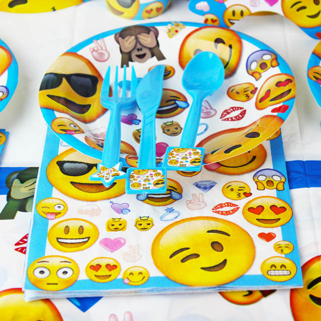 Online Shop Emoji Smile Cry Kids Birthday Party Decoration Set Supplies Baby Pack Event