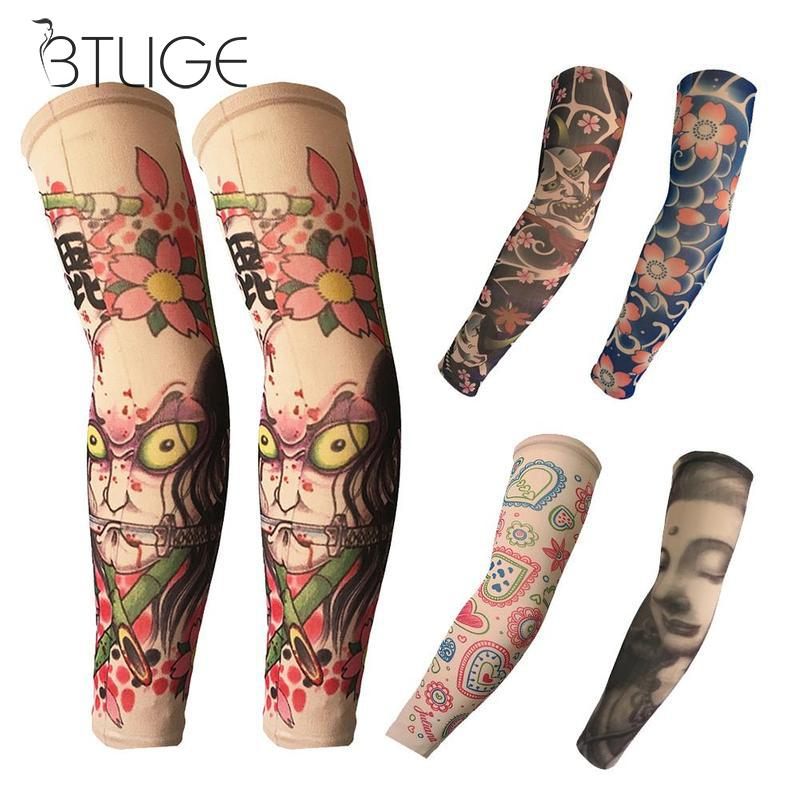 Cycling Sports Tattoo Sleeves UV Protection Cool Arm Sleeve For Sun Protection Running Arm Warmer Sport Oversleeve Arm Warmers