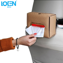 LOEN 1PC Sheepskin Foldable Car Tissue Box Auto Seat Back For Home Office Stowing Tidying Interior Accessories