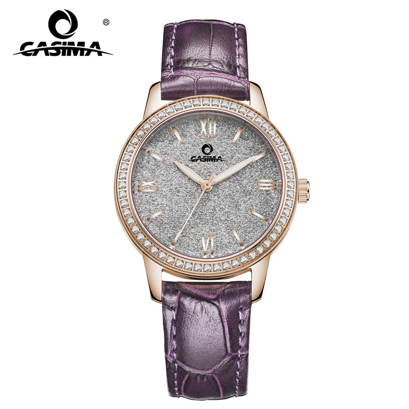 2018 New Fashion Elegant Womens Watch Stainless Steel Ladies Watch with Rhinestone Red & Purple Leather Strap Waterproof 66022018 New Fashion Elegant Womens Watch Stainless Steel Ladies Watch with Rhinestone Red & Purple Leather Strap Waterproof 6602