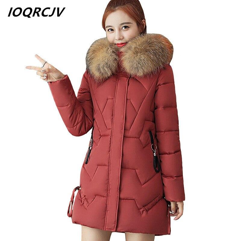 4244354aeda Парки Для женщин s 2018 Зимний пуховик хлопковые пальто длинные поддельные  меховой воротник куртка с капюшоном плотные теплые женские пальто .