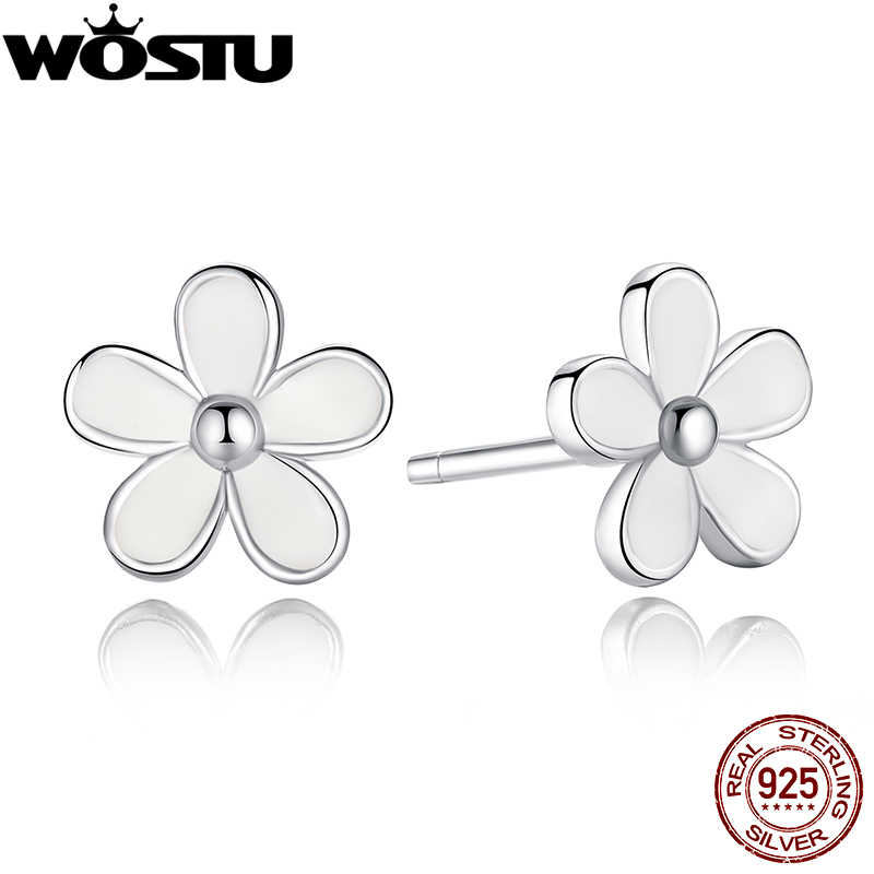 Authentic 100% 925 Sterling Silver Darling Daisies Stud Earrings For Women Luxury Fine Jewelry Fashion Gift XCHS409