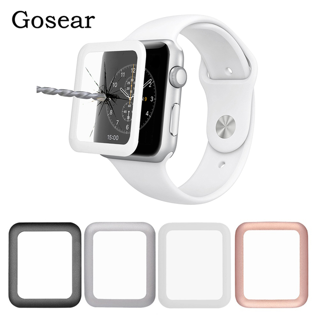 online store 4723a 212d9 US $3.59  Gosear Aluminum Magnesium Bumper Case &Tempered Glass Screen  Protector Film for Apple Watch Series 1 2 3 iWatch i Wach 38mm 42mm-in  Smart ...
