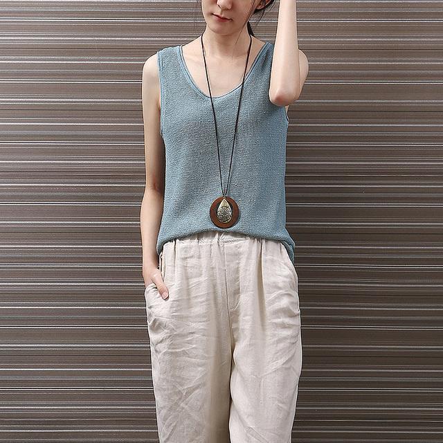 Yichaoyiliang Street Style Linen Tanque Cor Top Sólida Crewneck Crochê Tee Para As Mulheres Casual Verão Camisola
