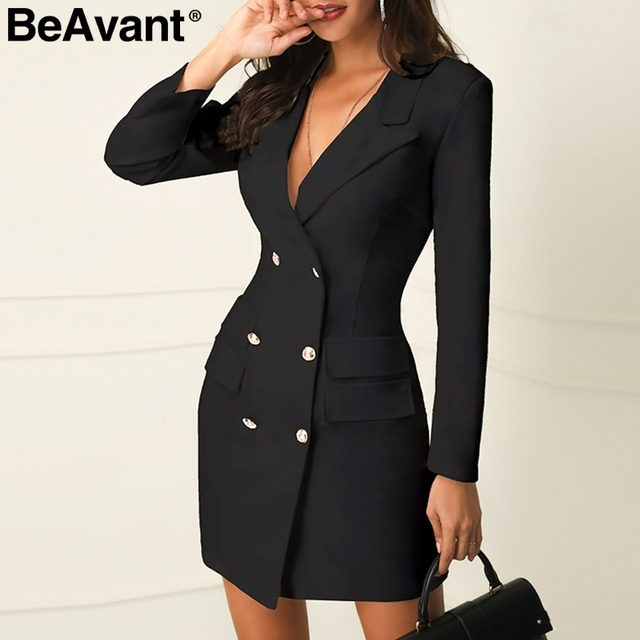 BeAvant Elegant black women blazer dress short Office long sleeve ...