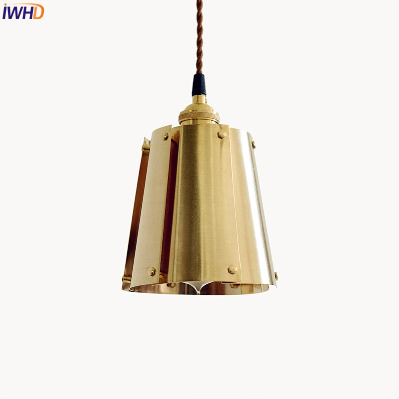 IWHD Nordic Brass Pendant Light Fixtures Dinning Room Copper Pendant Lights Vintage Lamp Edison Hanglamp Home Lighting Luminaire dx vintage lights pendant antler metal pendant lights verlichting hanglamp bar pendant light dinning room