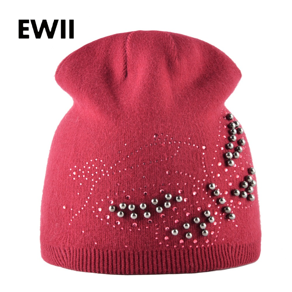 Fashion knitted winter hat women rhinestone beanies cap girl butterfly beanie hats female skullies ladies wool warm caps chapeu wuhaobo the new arrival of the cashmere knitting wool ladies hat winter warm fashion cap silver flower diamond women caps