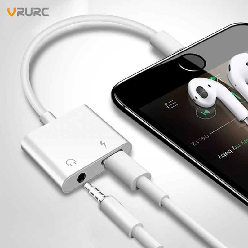 VRURC 3 en 1 para iPhone X 8 más Audio del adaptador del cargador para el relámpago adaptador para relámpago a 3,5mm adaptador AUX Cable convertidor