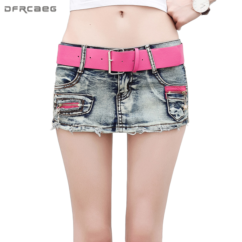 Blue Patchwork Summer Denim   Shorts   Skirts 2018 Fashion Women Vintage Jeans   Shorts   Skirt Casual   Short   Jeans Femme With Belt