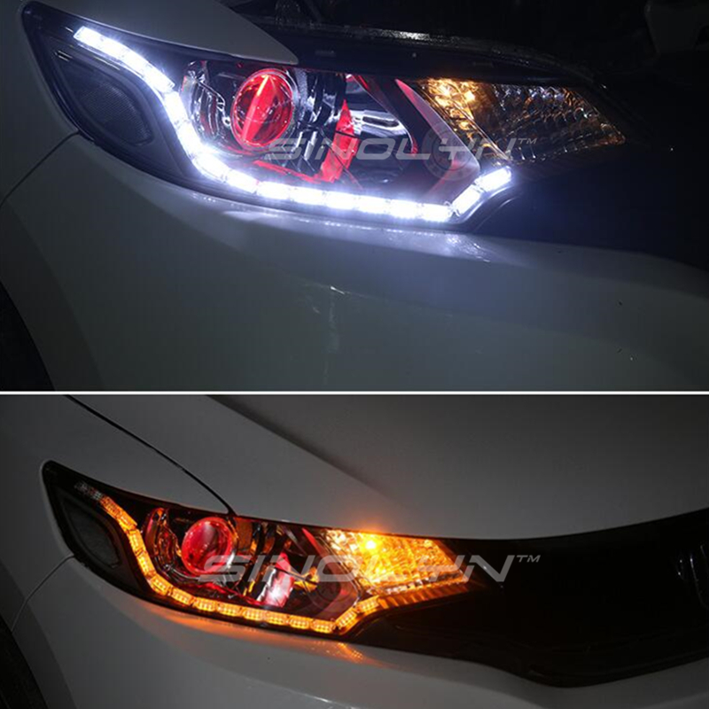 High Quality Universal Flexible Overflow Switchback LED DRL Daytime Running Lights White Amber Dual Color Turn