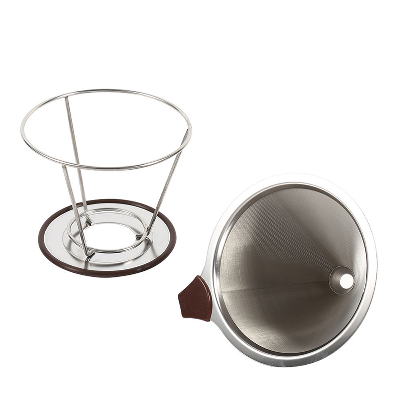 Stainless Steel Cone Reusable Coffee Filter Baskets Mesh Strainer Pour Over Coffee Dripper With Stand Holder