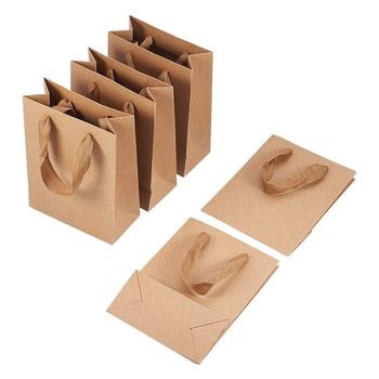 10pcs High Quality Kraft Paper Pouches Gift Bag with Nylon Thread Handle Fashionable Party Clothes Shoes Gift Shopping Bags 2018 new sky blue party slip shoe on mature italian shoes with matching bags rhinestones high quality african shoes and bag set