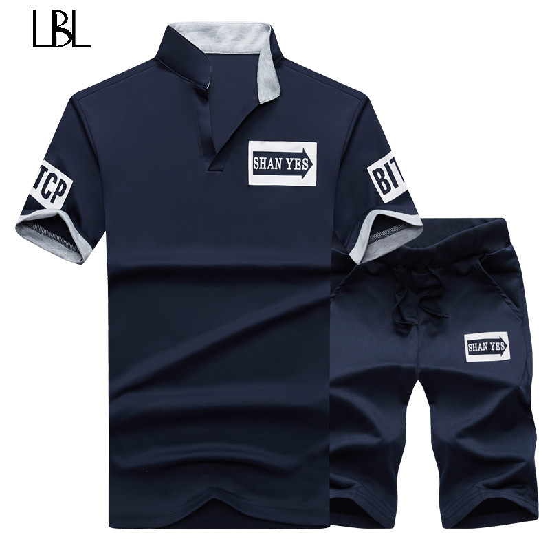 Sweat Suit Tracksuit Men 2PC Shorts Summer Brand Tshirt Men Letter Printed Sportsuit Set 2018 Fashion Suit Men Top Men Shirt