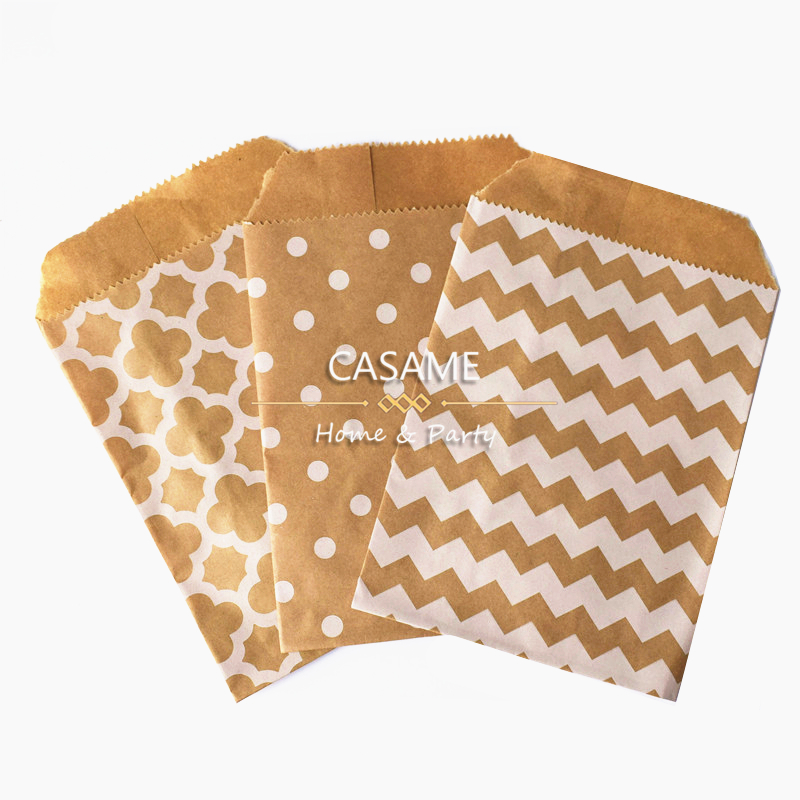 25pcs Handmade DIY Candy Gift Bag 5x7inch Kraft White Style Treat Craft Paper Popcorn Food Safe Party Favor Baking Bags