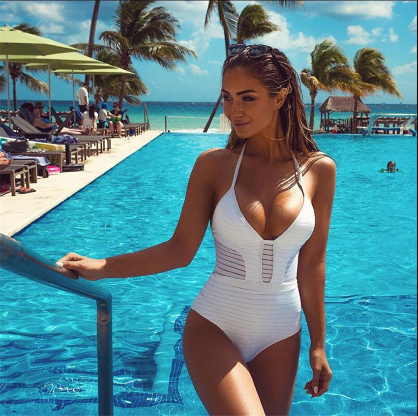 Biquini Mesh Swimwear One-Piece Swimsuit Women pareo Bandage 2017 High Waist Bodysuit maillot de bain push up Bathing Suit H056