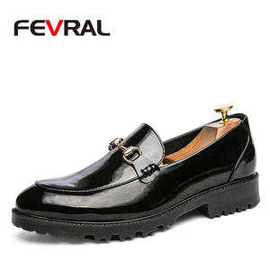 FEVRAL Men Loafers Oxford-Shoes Formal Mariage Pointed-Toe Business Patent Leather Fashion