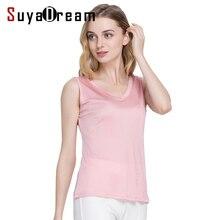 Women tank tops 100% Natural silk solid basic V neck vest 2018 Summer sleeveless silk top Black Pink White