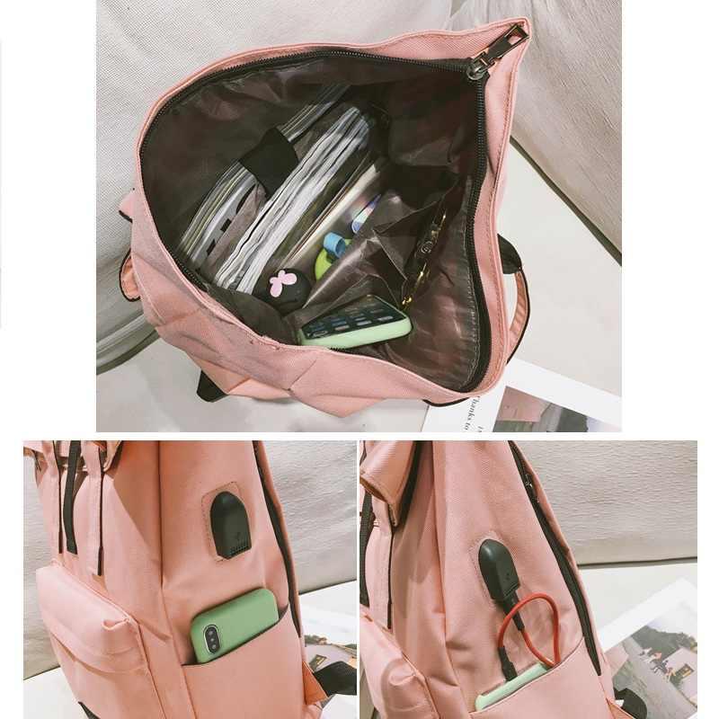 Женский внешний USB зарядка Рюкзак женский парусиновый женский рюкзак, Mochila Escolar рюкзак для девочек с отделением для ноутбука школьные сумки рюкзак для женщин