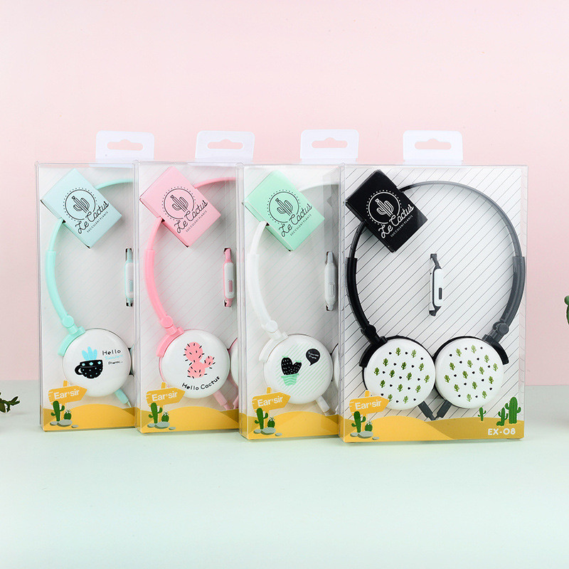 Cute Cactus Plant Headphones Portable Headset Earphones for Samsung Xiaomi mp3 Kids Student Birthday Gifts With Retail box kz headset storage box suitable for original headphones as gift to the customer