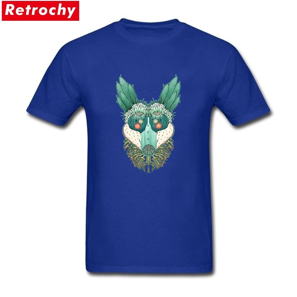 Unique Cactus Coyote T Shirt Mens Custom Short Sleeved Round Neck Cotton Plus Size T-Shirt