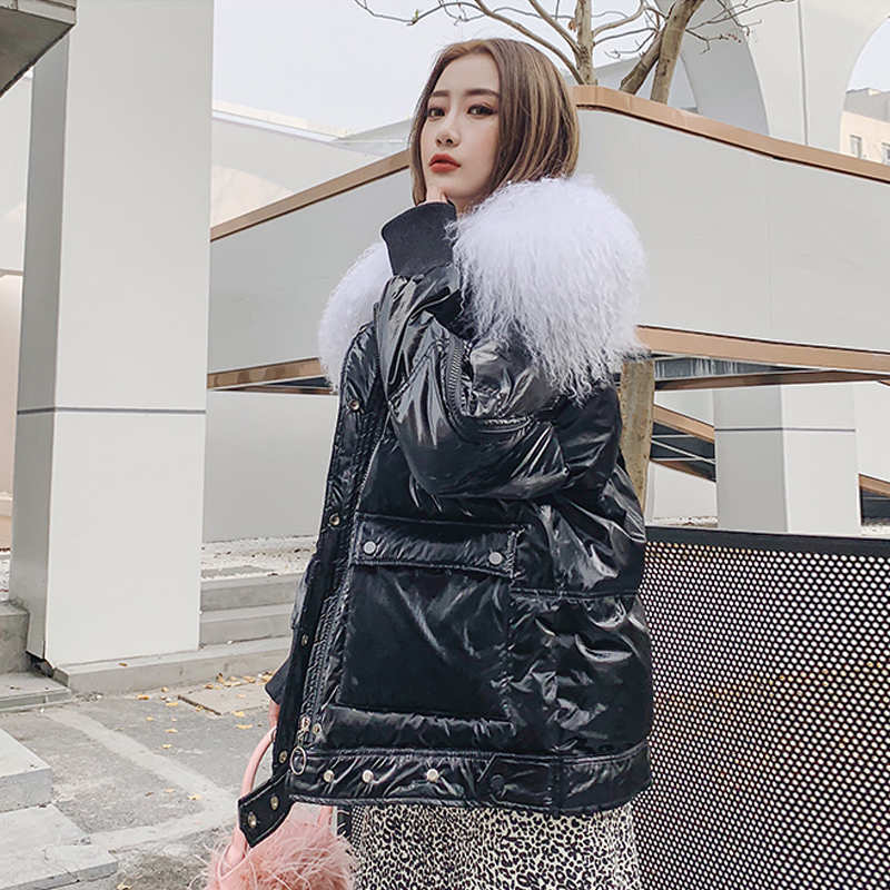 Large Real Wool 2019 Female Long Down Parkas Women Winter Coat Thickening  Winter Jacket Women Outwear White Duck Down Jacket