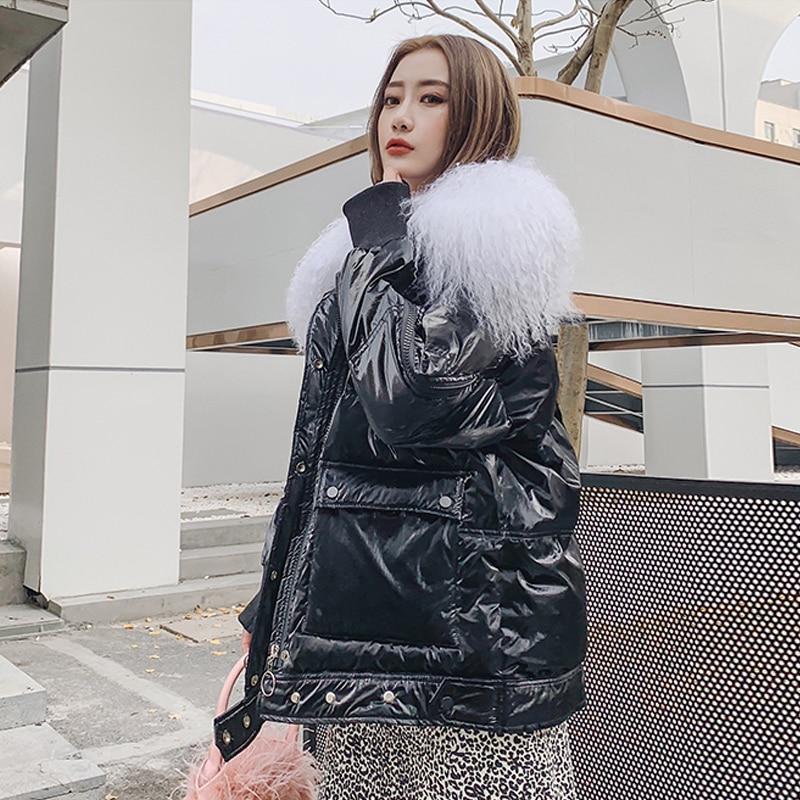 Large Real Wool 2019 Female Long Down Parkas Women Winter Coat Thickening  Winter Jacket Women Outwear White Duck Down Jacket