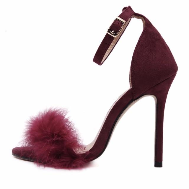 DEleventh Woman Summer Shoes Gladiator High-Heeled Sandals 2017 Fur Fashion Stiletto Heels Sandlias Women Sandals Sexy Shoes 43