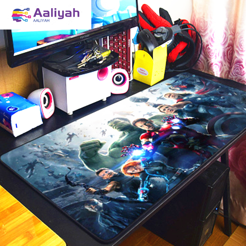Image 2 - Super Marvel mouse pad Locking Edge Gaming Mouse Pad Hero Iron Man Quake Anti slip Natural Rubber Mat anime mouse pad  pc gamer-in Mouse Pads from Computer & Office