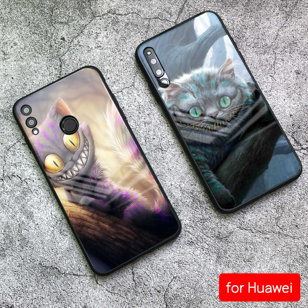 For Huawei Mate 10 Case Cheshire Cat Pattern Tempered Glass Case for Huawei Mate 9 10 Pro P10 P20 lite Honor V9 V10 Play Nova 3e