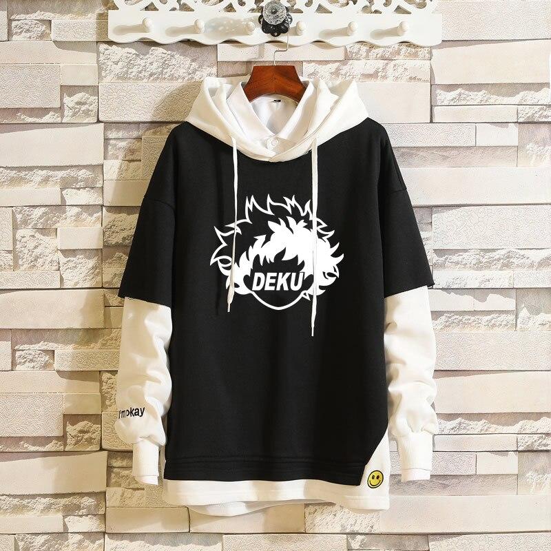 Anime My Hero Academia Deku Fake Two-Piece Layered Hoodie Patchwork Pullover Hooded Sweatshirt Colorblock Full Sleeve Streetwear